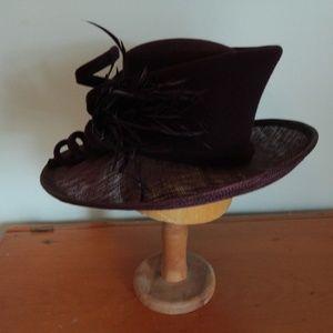 Maroon Whiteley Brand Tilt Topper Church/Derby Hat